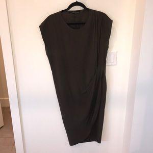 AllSaints olive green silk dress. Size 10.